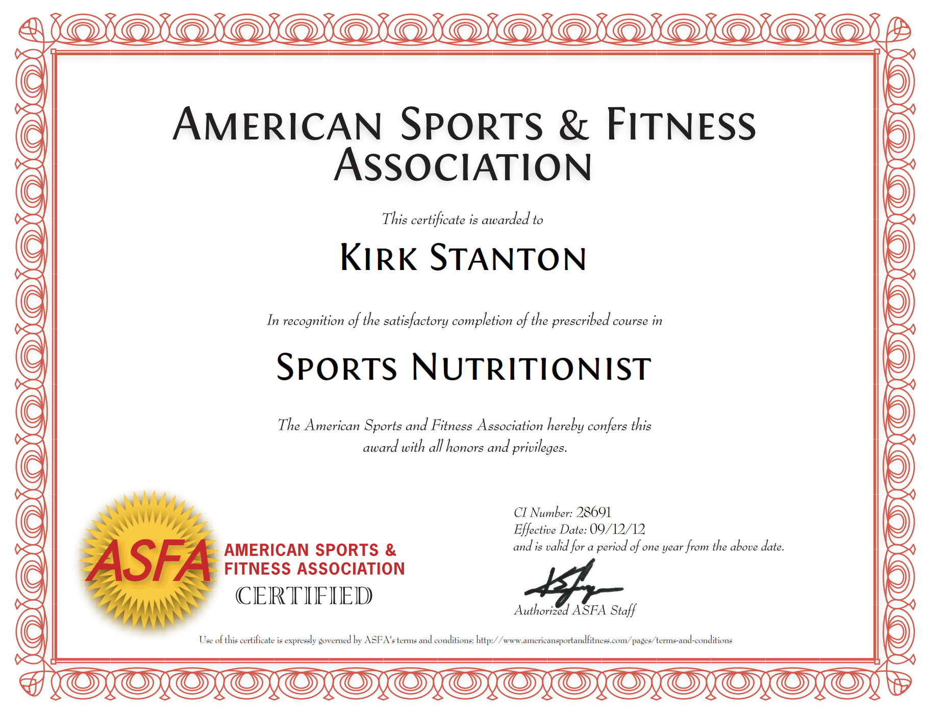 am a Certified Sports Nutritionist. See certificate .